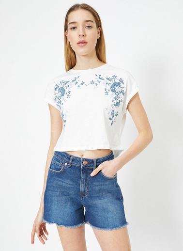 Koton Desenli T-Shirt Ekru